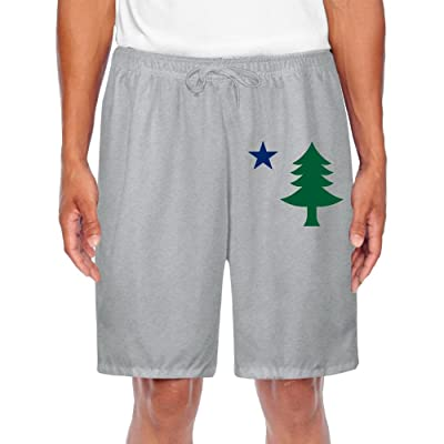 UGWATQ Men's Comfortable Flag Of Maine State USA Flag Shorts Performance Shorts Sweatpants