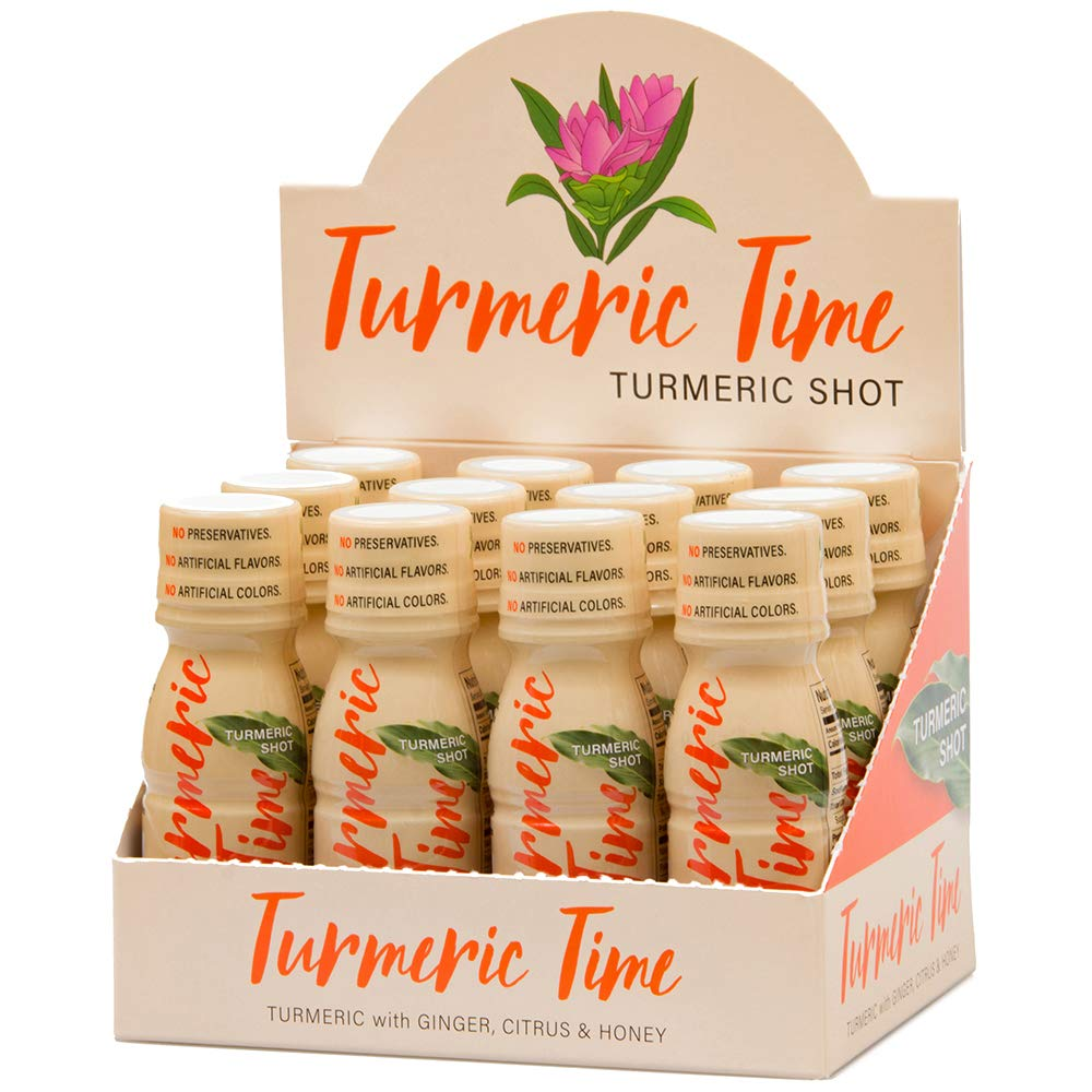 Turmeric Time Turmeric Shots (12 Pack) - Turmeric with Ginger, Citrus & Honey | No Preservatives | Non-GMO | Organic Ingredients | Wellness Shots | Turmeric Shots | Liquid Turmeric