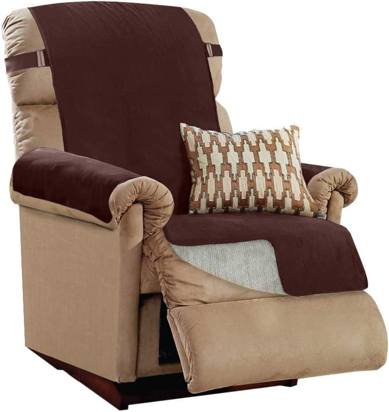 Gorilla Grip Original Slip Resistant Recliner Protector for Seat Width up to 26 Inch, Patent Pending Suede-Like Furniture Slipcover, 2 Inch Straps, Reclining Chair Slip Cover Throw for Dogs, Brown