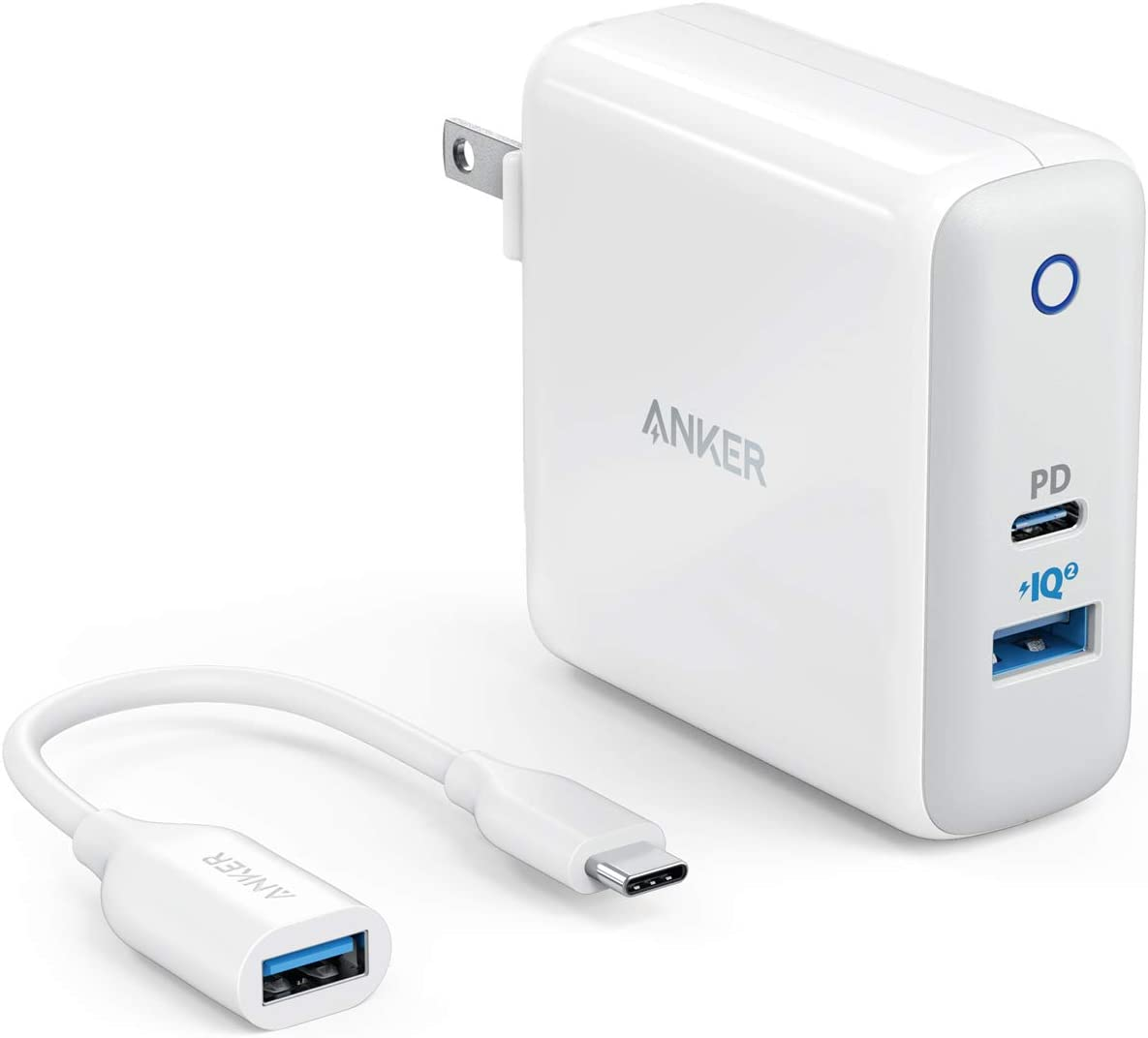 PowerIQ 2.0 for S9//S8//Plus and More iPhone XS//Max//XR//X//8//7//6//Plus PowerPort II Anker USB C Charger with USB-C to USB Adapter PD for MacBook UL Certified 49.5W Wall Charger with Foldable Plug
