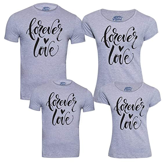bfdb386f Bon Organik Forever Love Pack of 4 Family Matching Cotton Combo Family t  Shirts/Combo tees Family/Family Matching t-Shirts/Family Tshirts/Tshirts  for Family