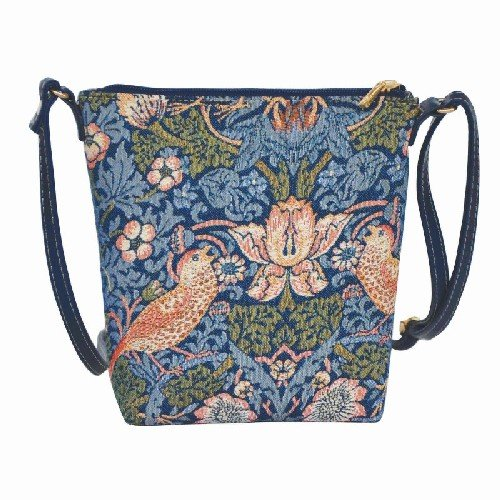 - Blue Flower and Bird William Morris Strawberry Thief Tapestry Lightweight Top Zip Cross body Bag Sling Bag with Adjustable Strap by Signare (SLING -STBL)