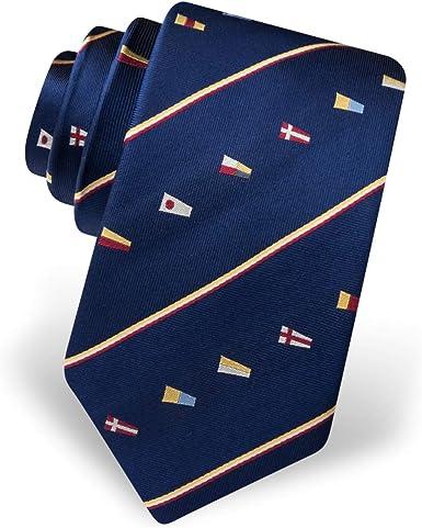 Corbata para hombre 100% seda azul marino náutico es barco tiempo señal banderas corbata: Amazon.es: Ropa y accesorios