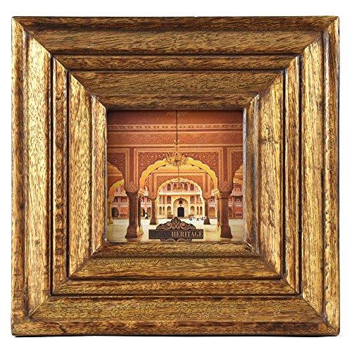 (Indian Heritage Wooden Photo Frame 4x4 Mango Wood Carving Design with Dark Wood Finish)