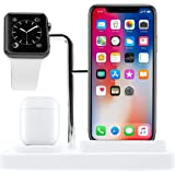 Macally Airpod iPhone Apple Watch Charging Station - A Home for Your Devices - Compatible with All iPhone, iWatch, Airpod Ser