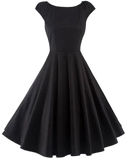 TINTAO Womens Retro 1950s Short Sleeve Solid Color Cocktail Swing Dress D01  (Black 095b7f5bdb