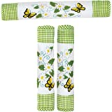 Daisy and Butterfly Green and White Appliance Handle Covers, 3 Piece Set for Oven and Refrigerator, Green, Polyester