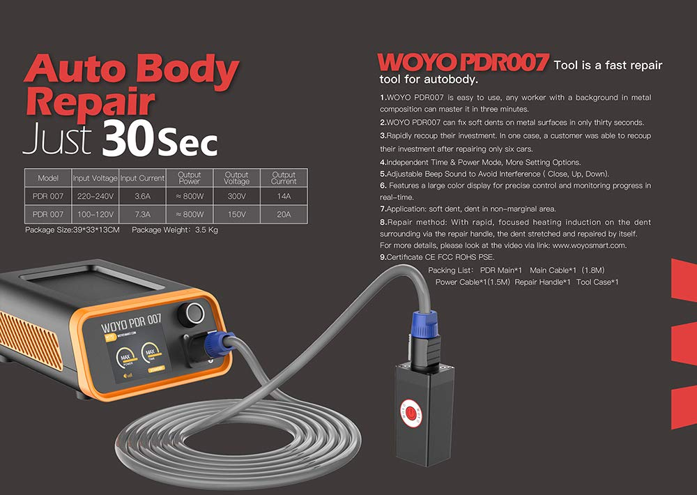 WOYO PDR007 PDR Tools Paintless Dent Repair Tool Induction Heater for Removing dents Auto Body Repair Tool by WOYO (Image #3)