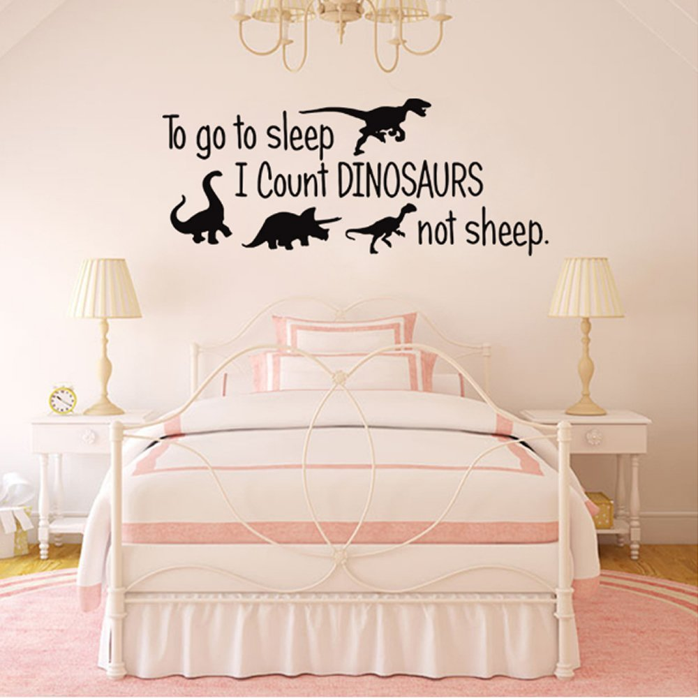 To Go To Sleep I Count Dinosaurs Not Sheep Vinyl Wall Decals Kids Room Bedroom Nursery  sc 1 st  Amazon.com & Amazon.com: Nursery Boys Name and Initial Dinosaurs Personalized ...
