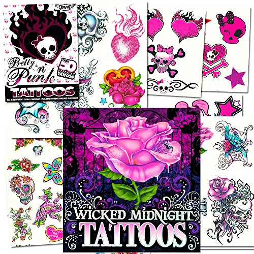 Temporary Tattoos For Women Girls Teens Ultimate Set --  Party Supplies Pack (Over 125 Tattoos -- Heart, Rock, Punk, Rose, Skull Themes) (Rocker Girl Halloween Costume)