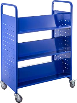 Bestequip 200lbs Book Cart Library Cart 30x14x45 Inch Rolling Book Cart Double Sided W Shaped Sloped Shelves With 4 Inch Lockable Wheels For Home Shelves Office And School Book Truck In Blue
