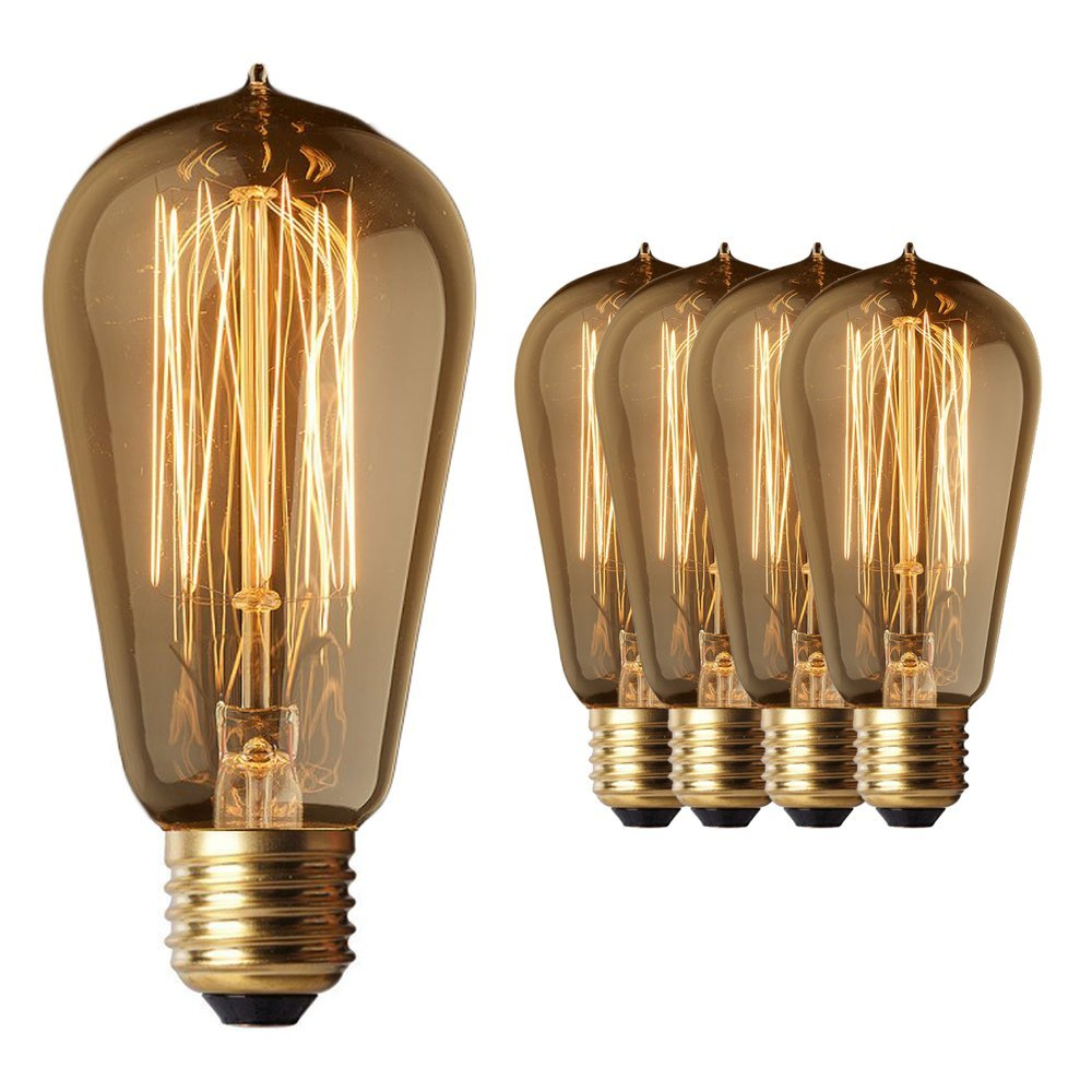 4 Pack Sale - Old Fashion Edison Light Bulbs - Five Star Rated - 60W Vintage Squirrel Cage Filament - 120 Volts - 230 Lumens - ST58 Teardrop - Dimmable Antique Amber Lighting - Warranty Included