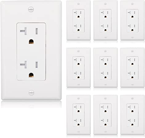 Maxxima Tamper Resistant Duplex Receptacle Standard Electrical Wall Outlet 15A White Pack of 10