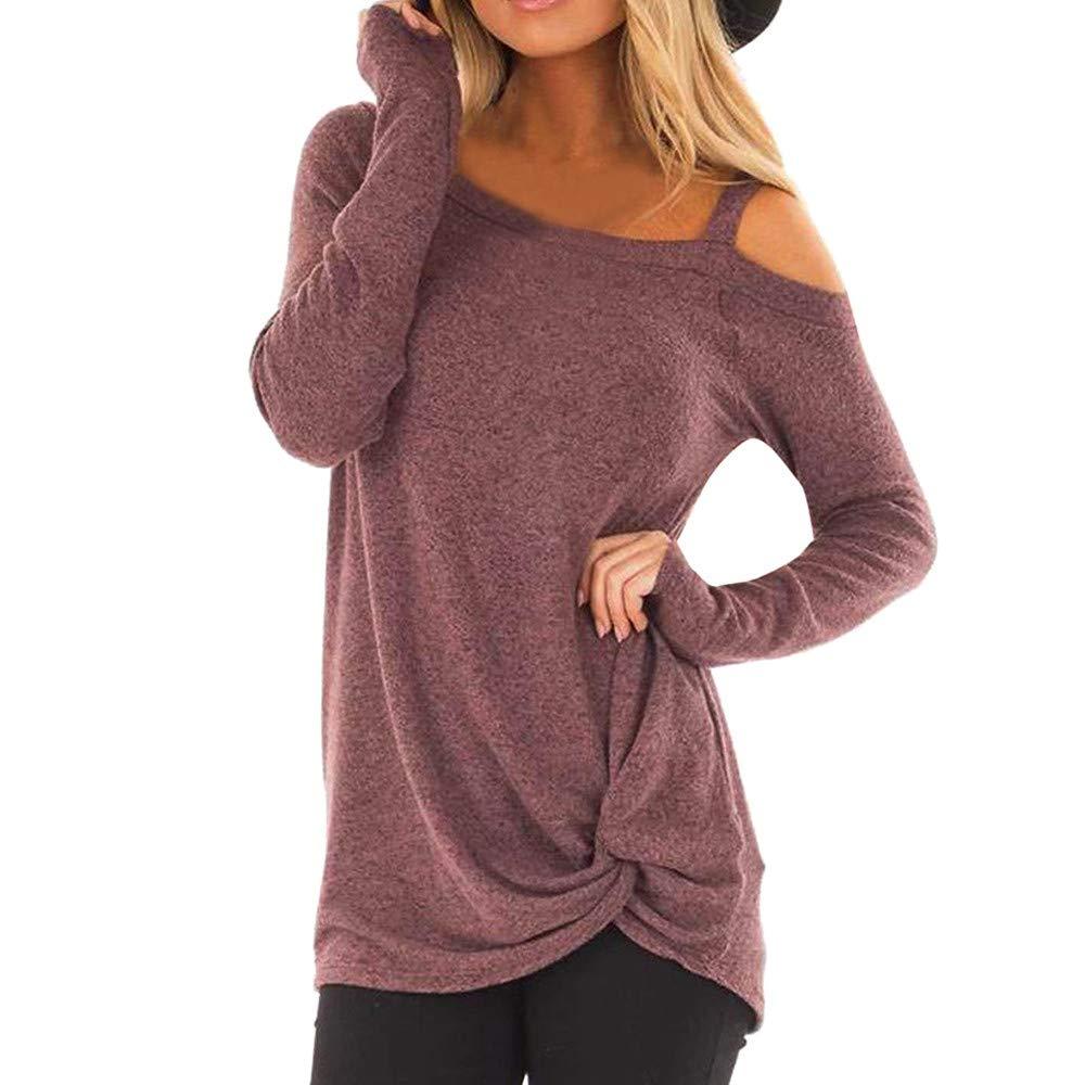 VEMOW Herbst Elegante Damen Winter Lose Langarm Bluse O-Ausschnitt Mode Lässige tägliche Outdoors Freetime Loose Solid T-Shirt Bluse Tops VEMOW Women