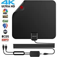 2018 NEWEST Best 80 Miles Long Range TV Antenna Freeview Local Channels Indoor Basic HDTV Digital Antenna for 4K VHF UHF with Detachable Ampliflier Signal Booster Strongest Reception 13ft Coax Cable