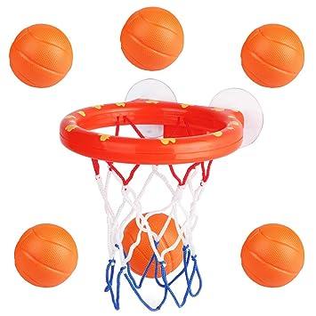 NUOBESTY Juego de Baloncesto y 6 Bolas Juego de bañera para niños ...