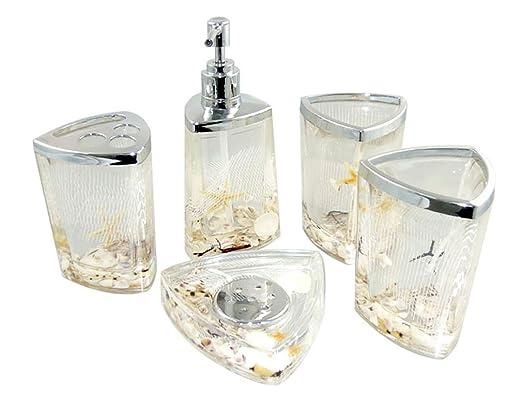 Amazon.com: AMC Decorative Seashells Ocean Beach Acrylic Bathroom Accessory  Set, White: Home U0026 Kitchen