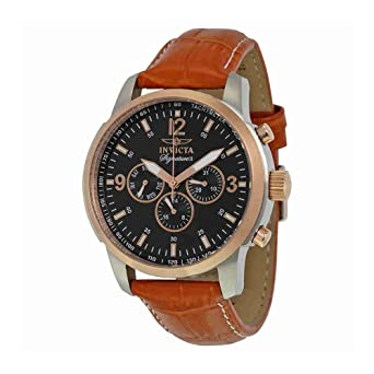 089ba081598 Image Unavailable. Image not available for. Color  Invicta Signature II  Multi-Function Black Dial Rose Gold-tone Brown Leather Mens Watch