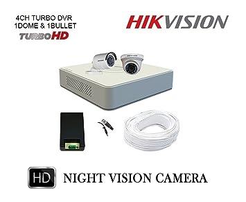 Hikvision Full HD 2 CCTV Cameras (2MP) with Full HD 4Ch. DVR Kit Bullet Cameras at amazon