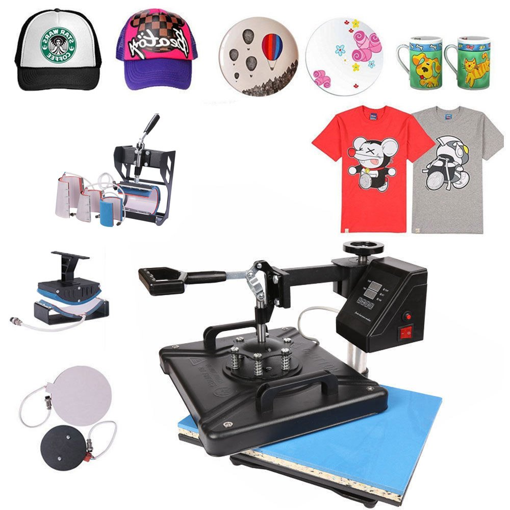ShareProfit 12'' X 15'' 8 in 1 Digital Heat Press Adjustable Multi-Spring Balancer Heat Press Machine Swing-Away T Shirt Press Machine Hat Press Non-Stick (12'' X 15'' 8 in 1)