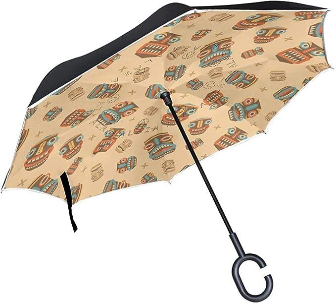 ETGeed Patrón de máscaras Tiki Modernas Invertir Paraguas