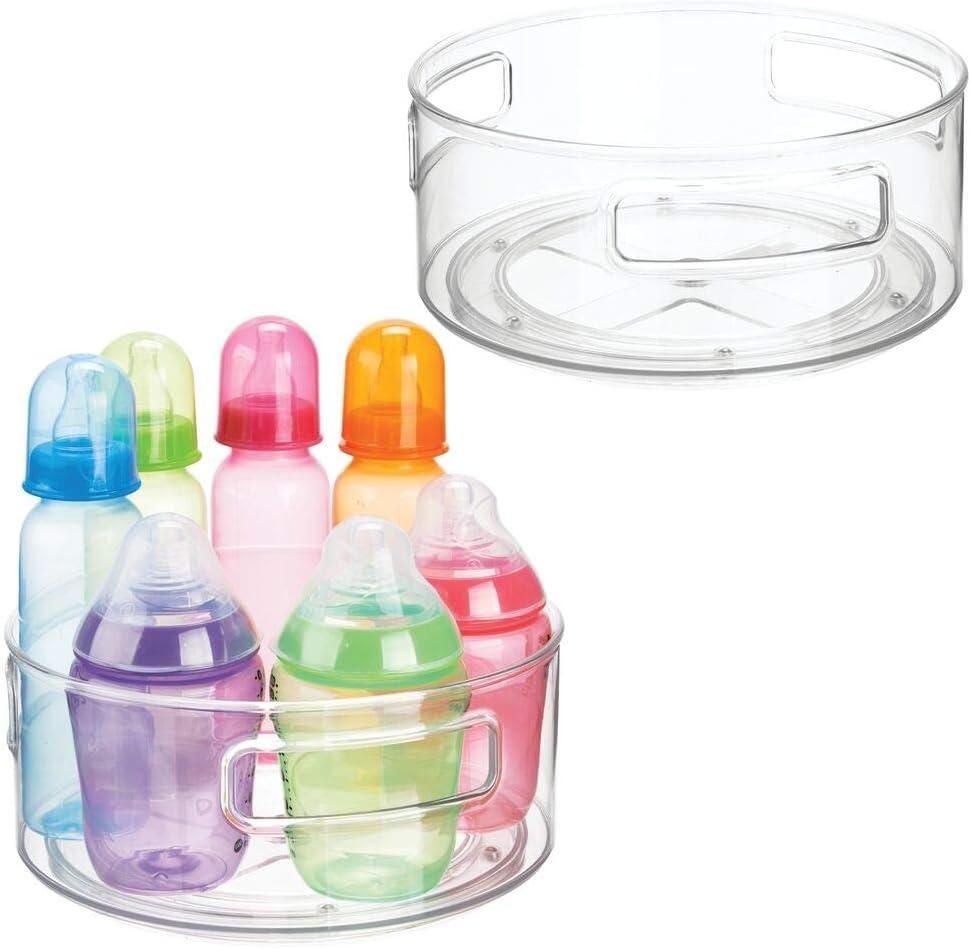 Schnuller Windeln Kinderzimmer Organizer hohe Plastikbox f/ür Babynahrung mintgr/ün mDesign 2er Set drehbare Aufbewahrungsbox Shampoo und mehr