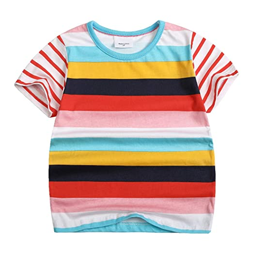 1fae8737 Amazon.com: Sooxiwood Boys T-Shirt O-Neck Rainbow Striped: Clothing