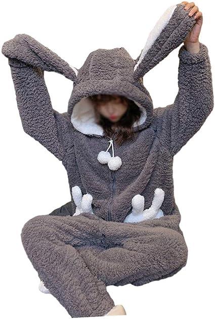 SMEJS Invierno espesando Pijamas Mujeres cálida Felpa Kawaii ...