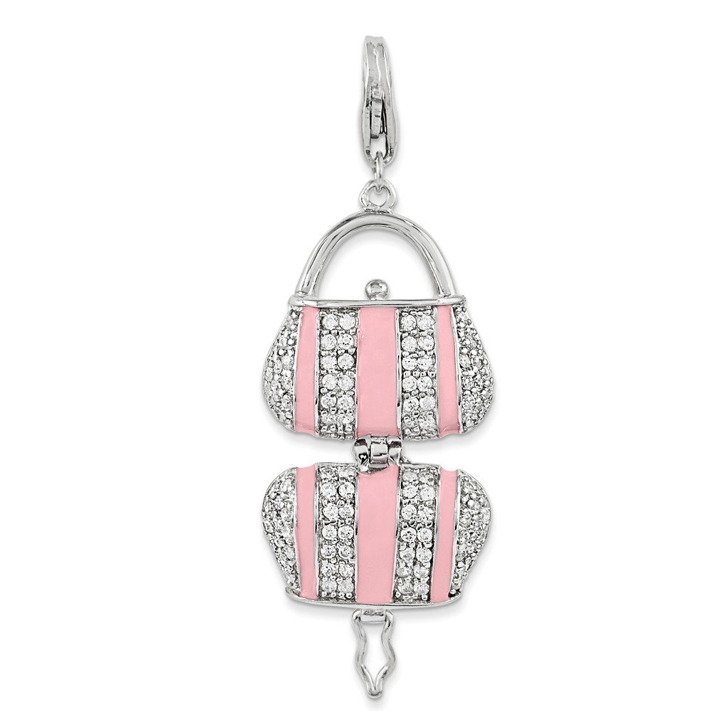 Jewel Tie 925 Sterling Silver Pink Enameled CZ Cubic Zirconia Handbag with Lobster Clasp Pendant Charm 16mm x 21mm