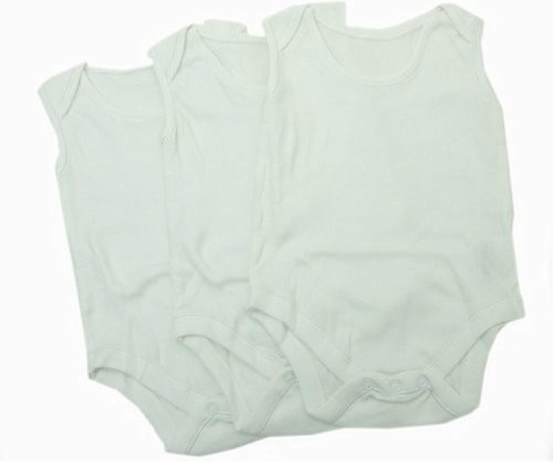 Blanc Lot de 3 Textiles Universels Bodys sans Manches Unis 100/% Coton - B/éb/é 0-3 Mois Taille: 56-62cm Poids: 6.5Kg