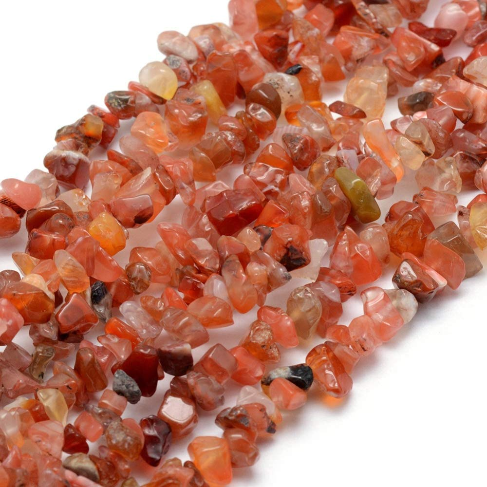 1 Strand (200+) Natural Carnelian Gemstone Chips 5 - 8mm. G035