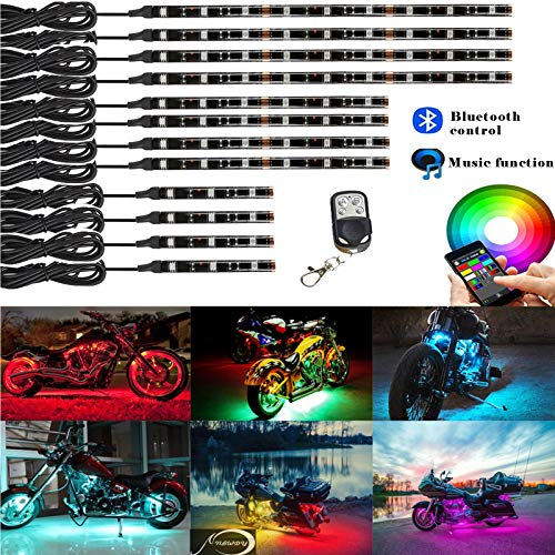 NBWDY 12Pcs Motorcycle LED Light Kit Strips Multi-Color Accent Glow Neon Lights Motorcycle Waterproof RF Bluetooth Controller led Motorcycle ATV Lights Music Sync for Motorcycle,ATV,Golf ()