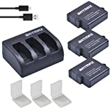 Batmax Replacement 1600mAh Gopro 2018 GoPro Hero 5 Hero 6 Batteries (3 Packs) + 3-Channel LED USB Charger with Type-C Port for Gopro 5 AHDBT-501 Battery GoPro Hero 5 Hero 6 Black Cameras