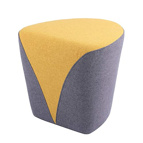 Sunon Heart Pouf Ottoman, 18.1L x17.7W x17H Upholstered Poofs Ottoman Stool, Matched Fabric Small Ottoman Foot Rest Nesting Stool Yellow