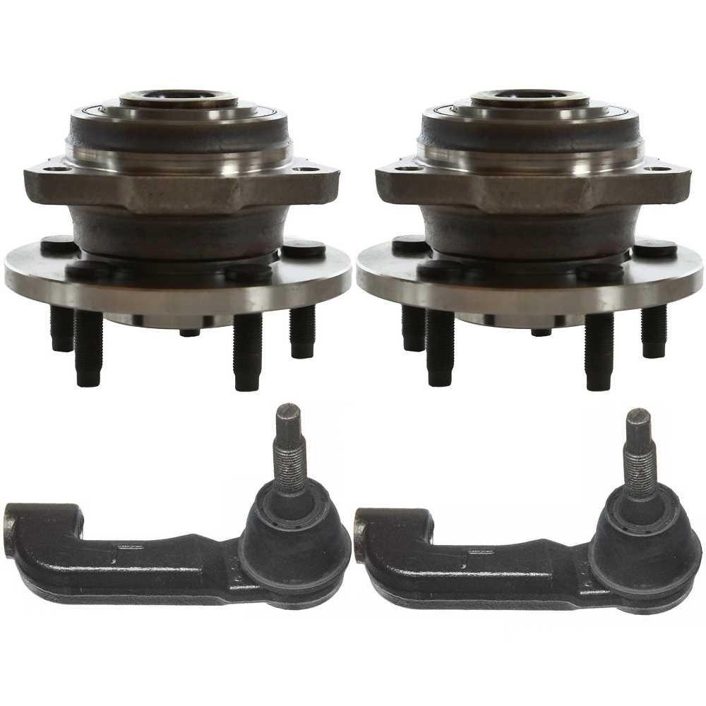 Prime Choice Auto Parts HB613180-TRK3044 Set of Front Hub Assemblies & 2 Outer Tie Rod Ends