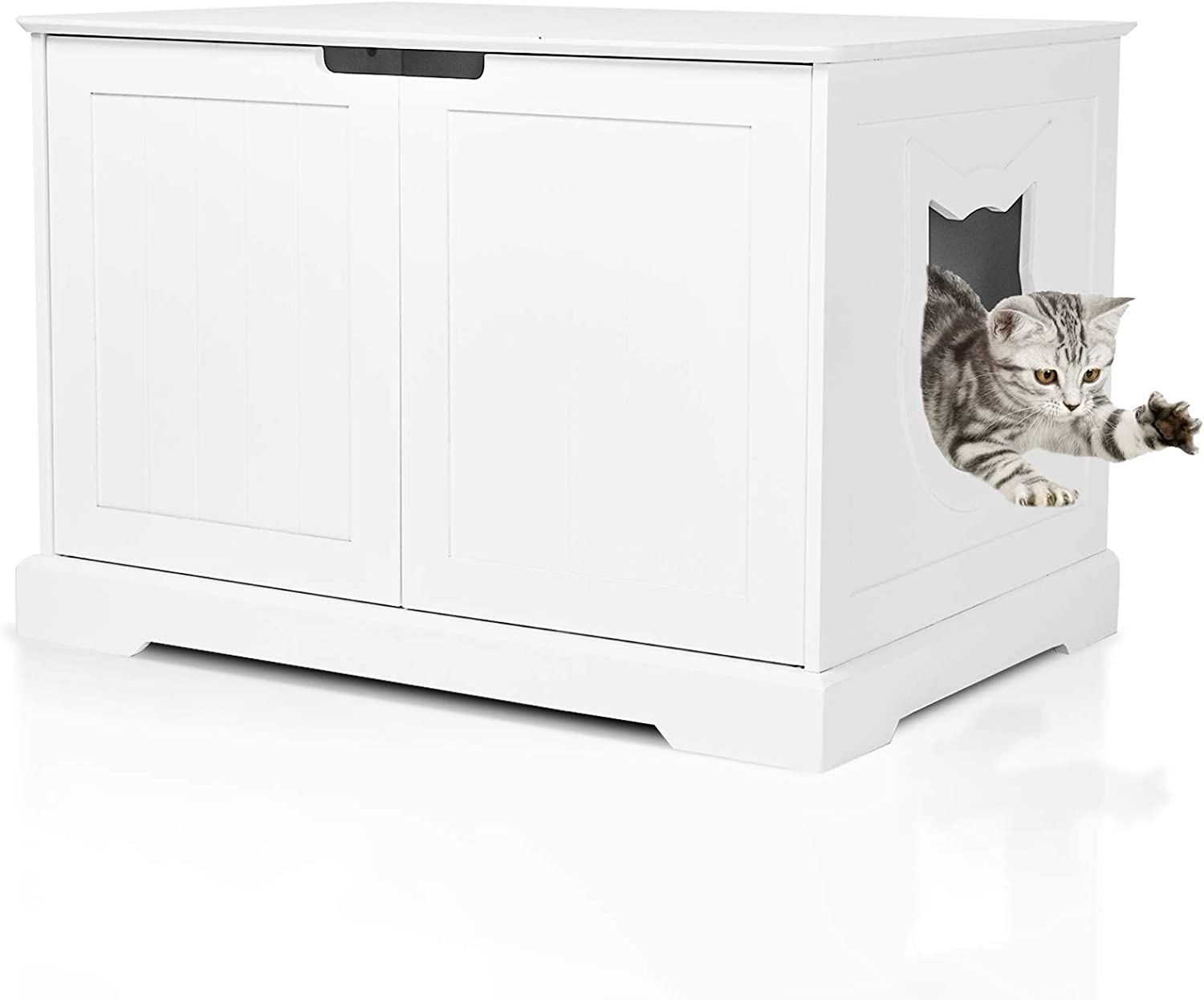 BANIROMAY Large Cat Washroom Storage Bench, Cats Litter Box Enclosure Furniture House and Nightstand Side Table, Spacious Cat Storage Cabinet for Living Room, Bedroom, Bathroom…