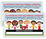 My Child Has a Medical Condition ICE Alert in Case of Emergency I.D. Identification Wallet Card Heavyweight 32 Pt. CardStock - Our Thickest (Qty. 2 w/Laminated Pouches)