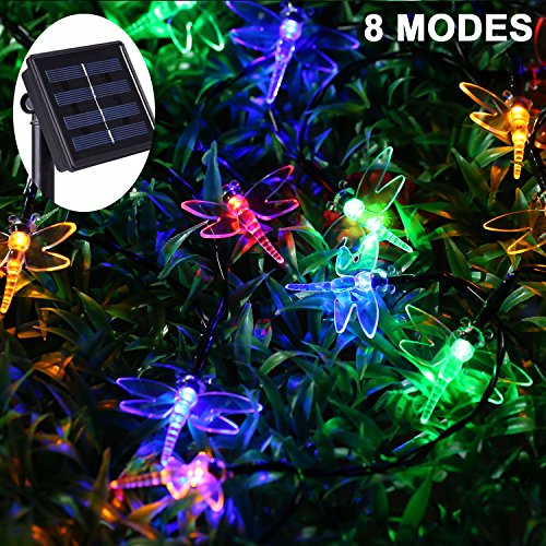 JMEXSUSS 8 Modes 30 LED 21.3Ft Waterproof Solar Dragonfly String Fairy Decorative Light for Outdoor, Indoor, Garden, Patio, Yard, Home, Christmas Tree, Parties (Dragonfly, Multicolor)