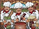 Ceramic Tile Mural - Three Happy Chefs - by Janet Kruskamp - Kitchen backsplash/Bathroom shower