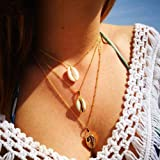 Jovono Fashion Boho MultiLayered Necklaces Shell Pendant Jewelry Chain For Women and Girls(Gold)