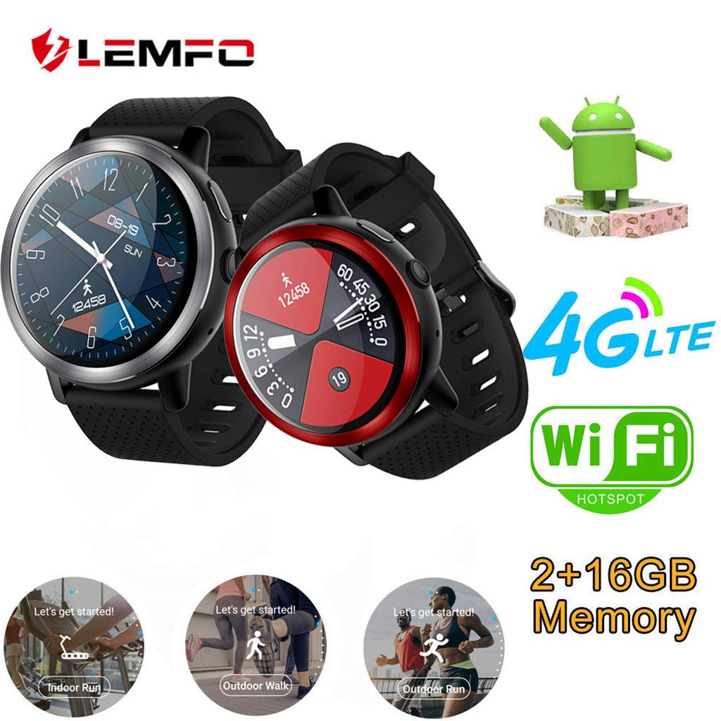 Cywulin Smart Watch Fitness Tracker, Activity Tracking Multi-Function Smart Band Bracelet IP67 Waterproof Android 7.1 4G LTE, Camera, GPS, WiFi, Heart Rate Monitor for iOS Android Men Women (Red)