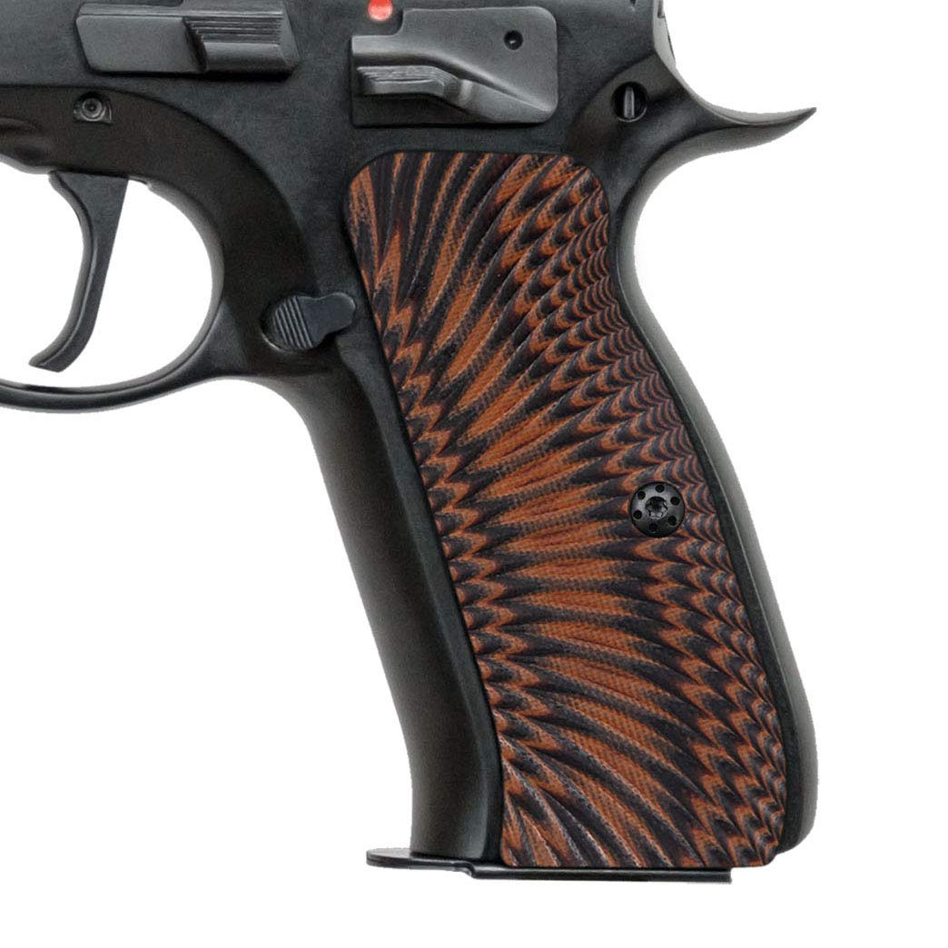Cool Hand G10 Grips for CZ 75 Full Size, Sunburst w/Punisher Skull Texture (Tiger Stripe) by Cool Hand