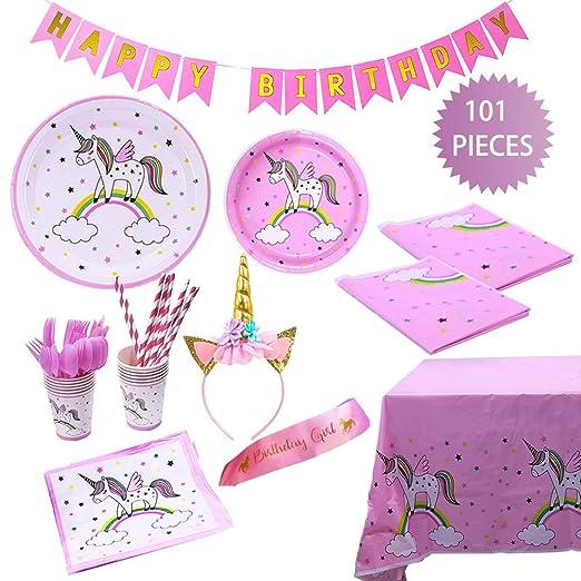 Zda Unicorn - Juego de accesorios para fiesta de cumpleaños ...