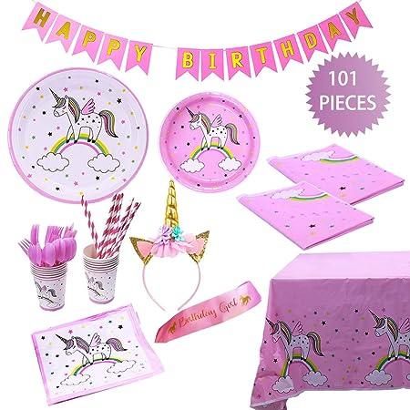 TRLYC Unicornio cumpleaños fiesta suministros Kit precioso ...