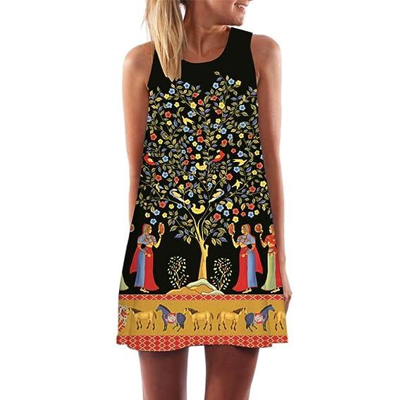 ZARLLE Vestidos Mini Vestido Corto, Vintage Boho Rectos Mujer Fiesta Cortos Vestidos Encorsetado Vestidos Flores