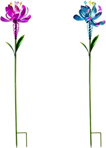 Evergreen Garden Pink and Blue Flower Wind Spinner, Set of 2-8 x 8 x 39 Inches