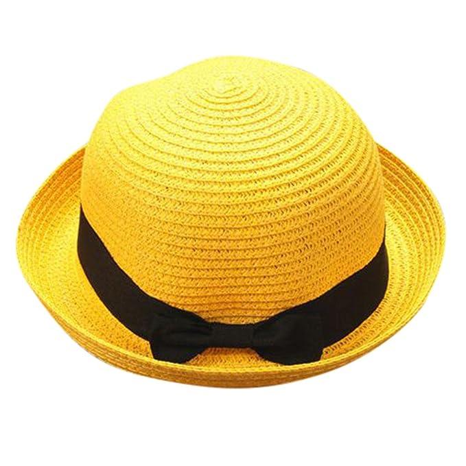 Modaworld Sombrero de Paja Familia, Sombrero de Padre Madre Bebé Bowknot niños niñas Sombrero Transpirable Sombreros de Paja Gorras Planas Viseras de Playa ...