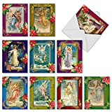 Christmas Angels' Blank Holiday Cards, Boxed Set of 10 Vintage-Inspired Heavenly Messengers Christmas Cards 4 x 5.12 inch, Assorted Colorful Angel and Poinsettias Seasonal Greeting Cards M1747XB