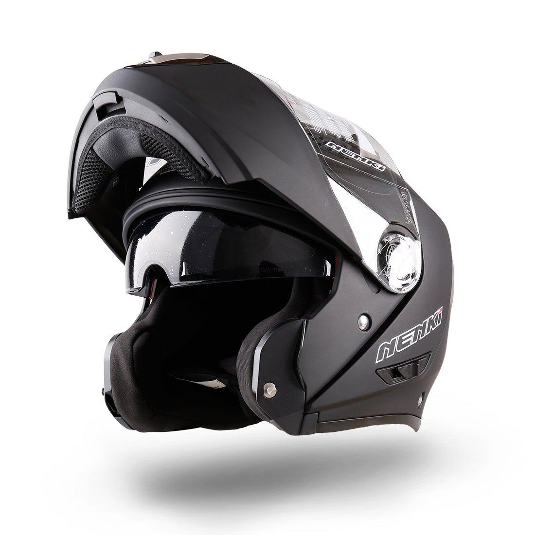 NENKI NK-860 Motorbike Helmet Motorcycle Moped Scooter Flip Up Modular Crash Helmets (M, Black)