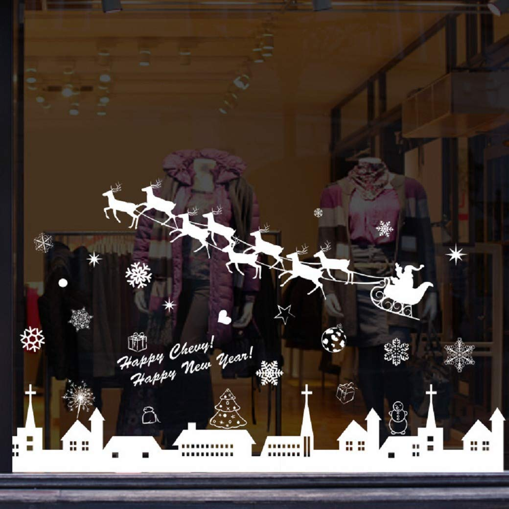 heekpek Natale Vetrofanie Rimovibile Adesivi Murali Fai da Te Finestra Decorazione Vetrina Wallpaper Adesivi